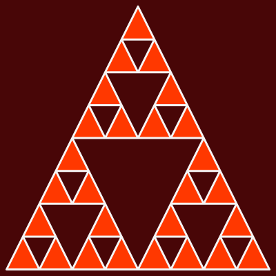 This example iterates Sierpinsky algorithm for 4 iterations and draws it on a 400 by 400 pixel canvas. It uses three different colors to draw it - white for triangles' border, brown for background and red for inner triangles.