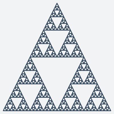 This example uses only two colors to generate a Sierpinski sieve fractal. It disables color-filling option that fills inner triangles and as a result you get just the outline of all triangles.