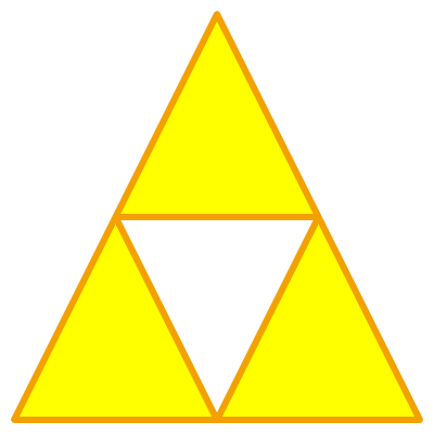 This example draws a triforce. A triforce is nothing but a 2nd generation Serpienski sieve.