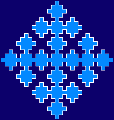 This example generates a regular (rhombus form) Sierpinski square fractal. We use 4 iteration steps and a rectangular canvas of 400 by 420 pixels. We add extra space of 3px around the fractal from all sides and choose line width of 2 pixels.