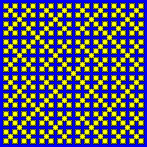 In this example, we use a square shape form for the fractal. In this case, the regular Sierpinski square is turned over by 45 degrees and it becomes a space-filling curve. This example draws the fractal of size 500x500px for 6 generations and uses a yellow-blue-white color theme.