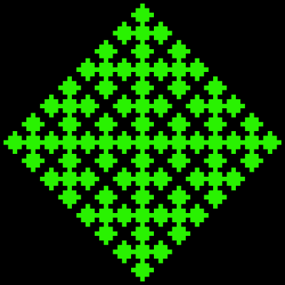 This example draws a rhombus-shaped fractal without the contour line around the fractal. As a result only two colors are used – green fill color and black background color. The rhombus is inscribed in a 400-by-400 square canvas and is offset by 5 pixels from the edges.