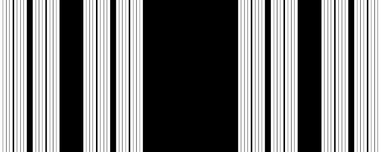 This example draws a black and white bar code from the last iteration of SVC fractal. This is achieved by enabling barcode mode in the options. There is no padding here, and seventh subdivision of the set is generated.