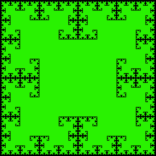 This example generates a two-color T-square curve using 7 iterations. It sets line width to 0 and as a result, only two colors are used. The dimensions of this T-fractal are set to 522x522 pixels.