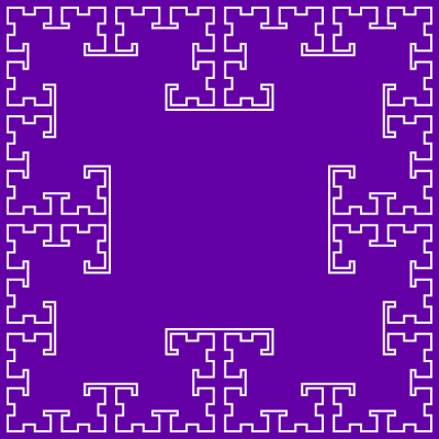 In this example, the background color and fill color are the same. This way we only draw the contour of the T-square fractal.