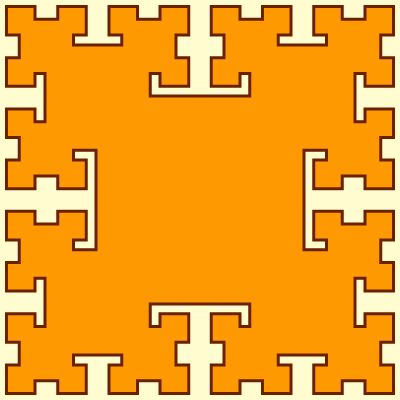 This example draws a 4th order T-square curve. It changes the width of the curve to 6px and sets the T-square size to 400x400px. It uses orange for the inner fill color.