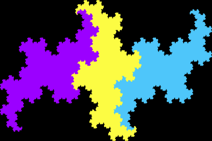 In this example the terdragon is generated for 11 iterations and it uses four different colors – purple, yellow and blue for dragons, and black for the background. As there are 11 iterations the fractal gets filled with solid color as all lines get drawn very close together. We also set the padding to zero and dragon line width of 2px.