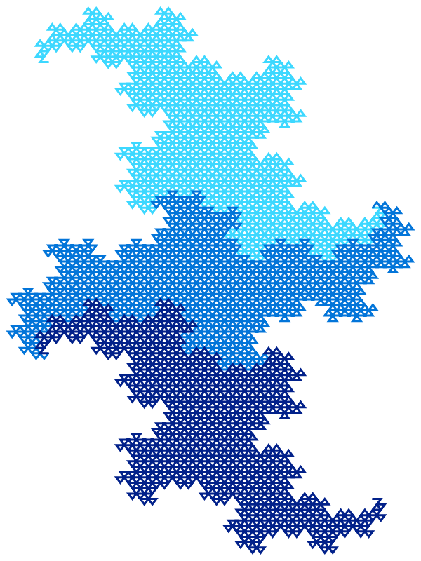 In this example we generate 8 iterations of the three dragon fractal. The 8th iteration makes two of the dragons align vertically and one of them align horizontally and to better visualize them we set height to 800px but width to 600px. We use three shades of blue for dragon lines and use a white background color. Dragon line thickness is set to 3 pixels.