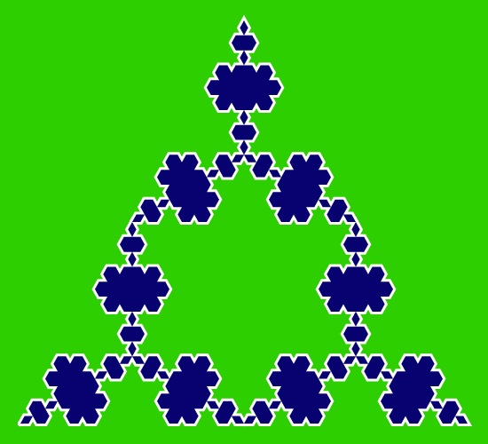 This example creates only the three antisnowflakes and doesn't fill the center. This is achieved by setting center fill color to the background color. This fractal is drawn on a rectangular canvas (550 by 500 pixels) and a large space around the edges of the image is added (20 pixels).