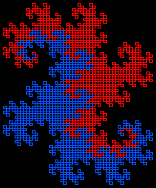 This example generates red and blue dragons vertically on a black background with a height of 600 pixels and a width of 500 pixels. The thickness of dragons is 3 pixels and the padding is 10 pixels.