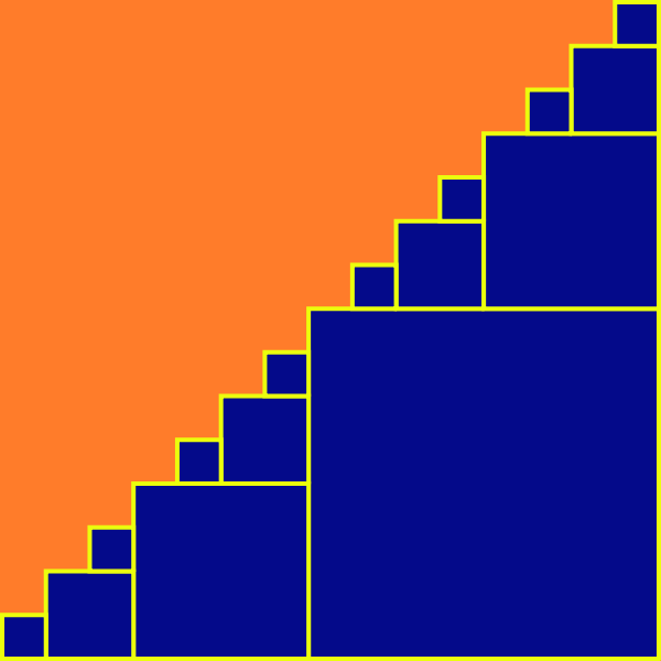 In this example, we changed the initial direction of fractal growth to the north-west. As a result, we got a V-tree fractal that looks like a bunch of boxes. We painted the boxes in blue and set the background to orange for the contrast. We grew the fractal for 4 recursive iterations and didn't use padding around it. The canvas was 600x600 px square.