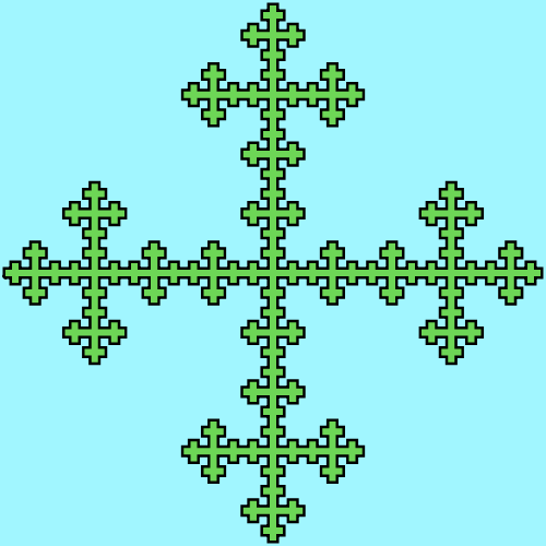 This example generates a Vicsek box with a black outline and green inside on a light blue background. It uses 4 iterations to generate this fractal.